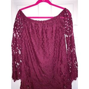 Maroon Lace Off the Shoulder Dress